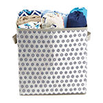 Mind Reader Storage Bin Dots Design, Foldable Storage Basket with Handles, Decorative Storage Bins, Cube Organizer Bin, Bathroom, Bedroom, Children's Toys- 4 pack