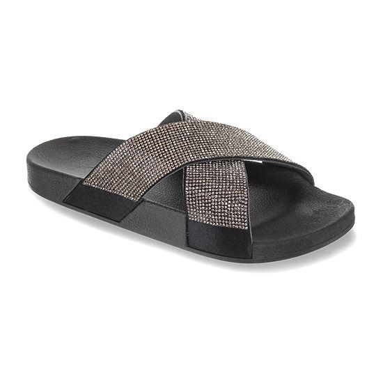 Mixit Womens Mini Bling Cross Slide Sandals