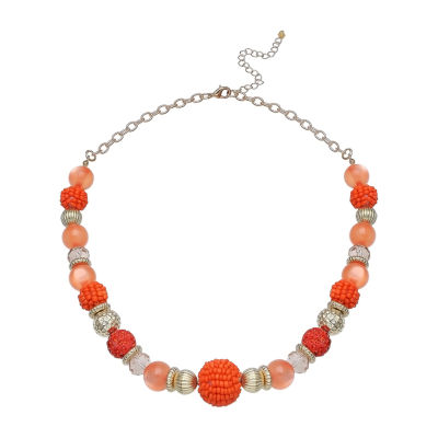 """Mixit 19"""" Seedbead Ball Short Womens Beaded Necklace"""