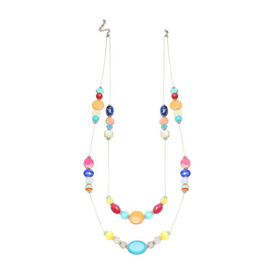 "Mixit 38"" Double Row Womens Beaded Necklace"