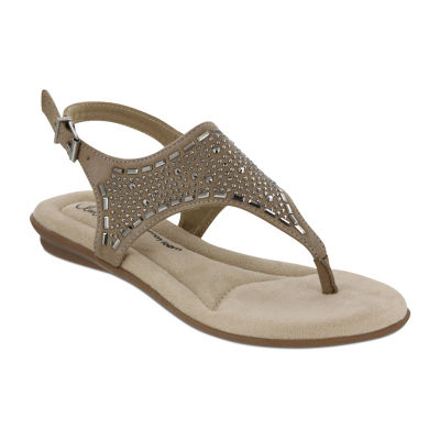 Mia Amore Womens Joycee Slingback Strap Flat Sandals