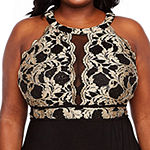 R & M Richards Sleeveless Lace Halter Gown - Plus