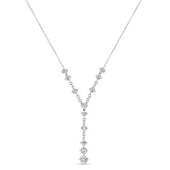 Womens White Cubic Zirconia Sterling Silver Y Necklace