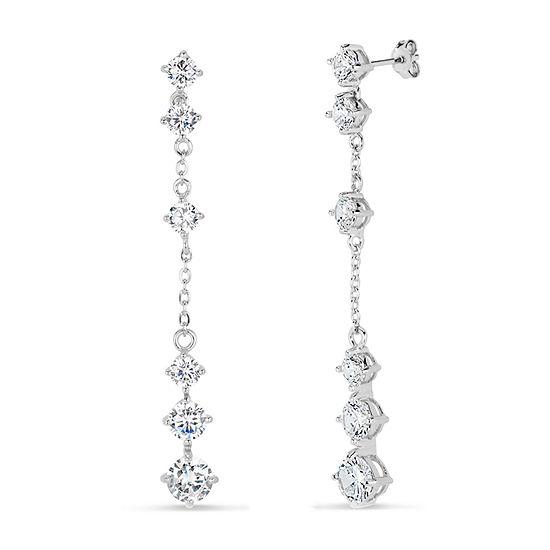 White Cubic Zirconia Sterling Silver Drop Earrings