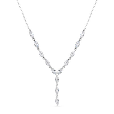 Womens 4 1/2 CT. T.W. White Cubic Zirconia Sterling Silver Y Necklace