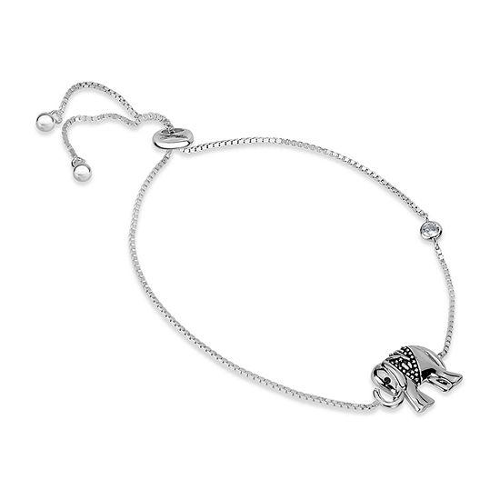 1/5 CT. T.W. White Cubic Zirconia Sterling Silver Bolo Bracelet
