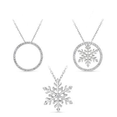Womens 1 1/5 CT. T.W. White Cubic Zirconia Snowflake Pendant Necklace