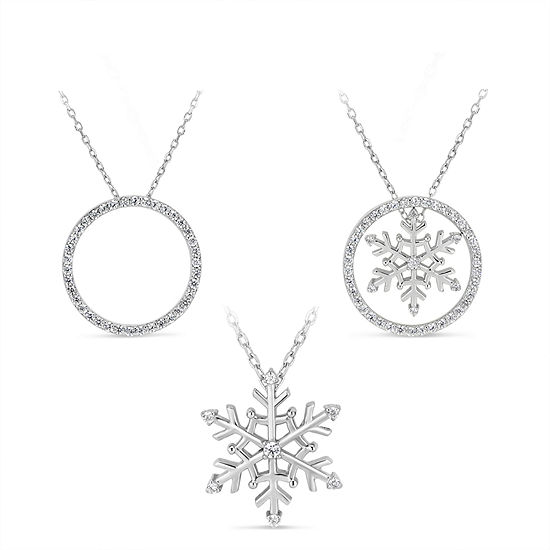 Womens 1 1/5 CT. T.W. White Cubic Zirconia Sterling Silver Snowflake Pendant Necklace