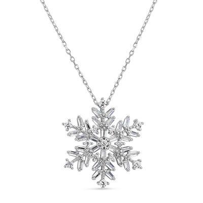 Womens 1 1/2 CT. T.W. White Cubic Zirconia Snowflake Pendant Necklace