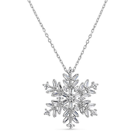 Womens 1 1/2 CT. T.W. White Cubic Zirconia Sterling Silver Snowflake Pendant Necklace