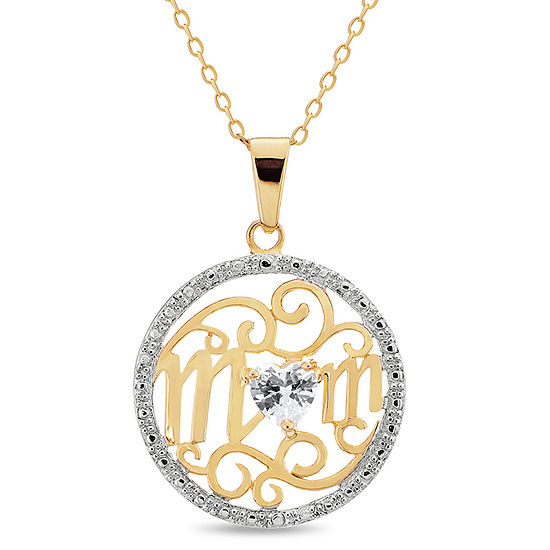 Womens 3/4 CT. T.W. White Cubic Zirconia 18K Two Tone Gold Pendant Necklace