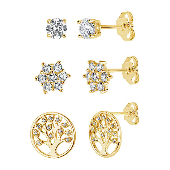 1 3/4 CT. T.W. White Cubic Zirconia 18K Gold Over Silver 3 Pair Earring Set