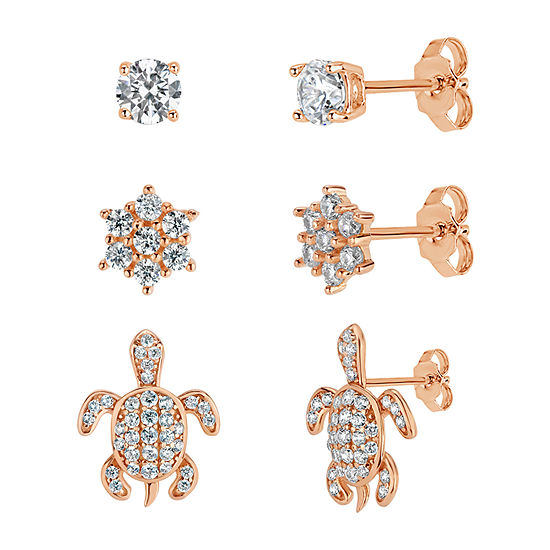 2 1/4 CT. T.W. White Cubic Zirconia 18K Rose Gold Over Brass Sterling Silver 3 Pair Earring Set