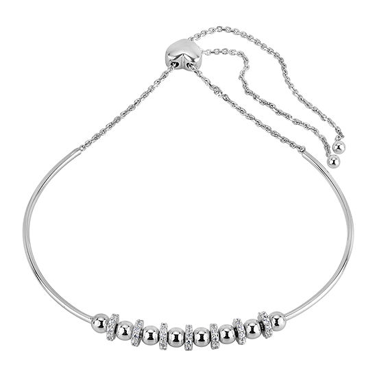 Diamond Accent White Cubic Zirconia Sterling Silver Bolo Bracelet