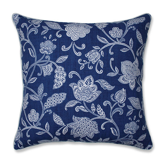 Pillow Perfect Stencil Vine Ocean Square Throw Pillow