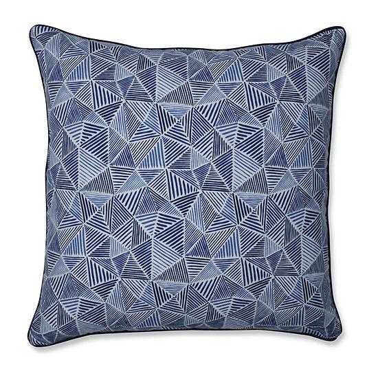 Pillow Perfect Stitches Ocean Square Throw Pillow