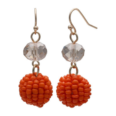 Mixit Seedbead Ball Double Drop Earrings