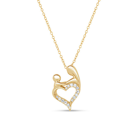 Womens 1 2 Ct Tw White Cubic Zirconia 18k Gold Over Silver Pendant Necklace