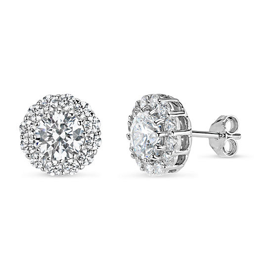 4 1 4 Ct Tw White Cubic Zirconia Sterling Silver 10mm Stud Earrings