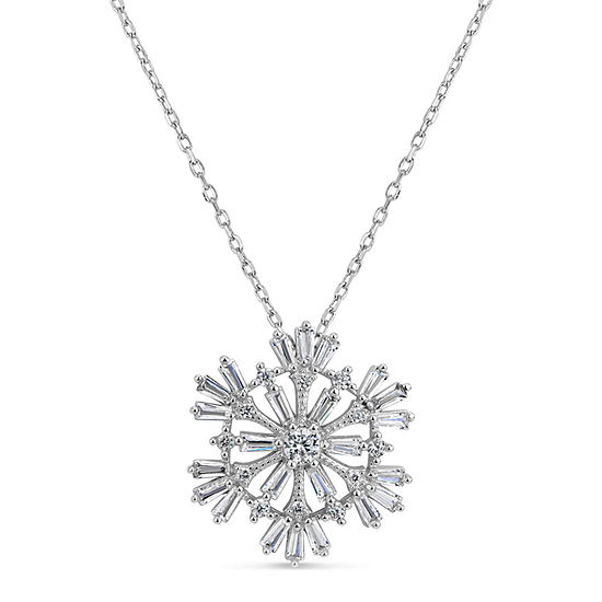 Womens 1 1 5 Ct Tw White Cubic Zirconia Sterling Silver Snowflake Pendant Necklace