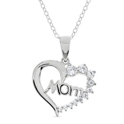 Womens 7/8 CT. T.W. White Cubic Zirconia Sterling Silver Heart Pendant Necklace
