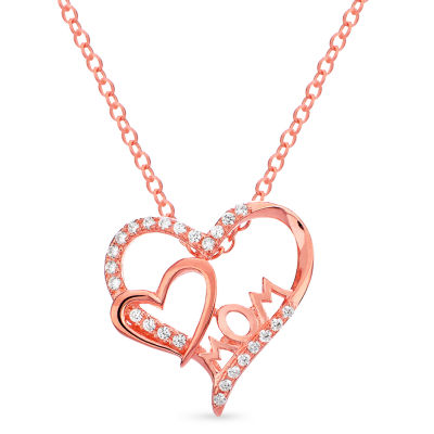 Womens 1/4 CT. T.W. White Cubic Zirconia 18K Rose Gold Over Silver Heart Pendant Necklace