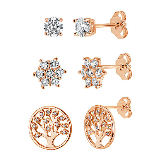 3 Pair 1 3 4 Ct Tw White Cubic Zirconia 18k Rose Gold Over Silver Sterling Silver Earring Set