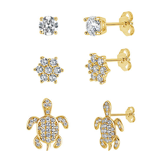 3 Pair 2 1/4 CT. T.W. White Cubic Zirconia 18K Gold Over Silver Earring Set