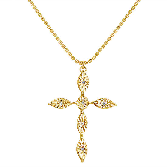 Womens White Cubic Zirconia 18K Gold Over Silver Cross Pendant Necklace