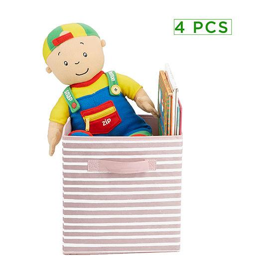 Mind Reader Storage Bin Stripes Design, Foldable Storage Basket with Handles, Decorative Storage Bins, Cube Organizer Bin, Bathroom, Bedroom, Children's Toys- 4 pack
