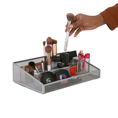Mind Reader Mesh Cosmetic Organizer, Makeup Storage Organizer, Mesh Cosmetic Storage Tray, Bathroom, Makeup, Brushes, Lipstick & More