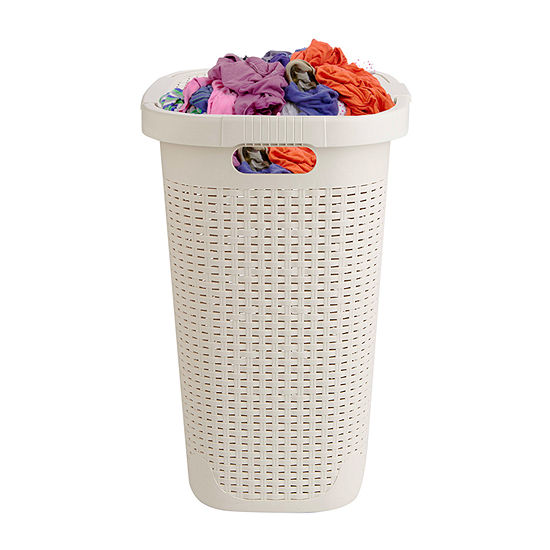 Mind Reader 50 Liter Laundry Hamper,  Laundry Basket with Cutout Handles, Washing Bin, Dirty Clothes Storage, Bathroom, Bedroom, Closet