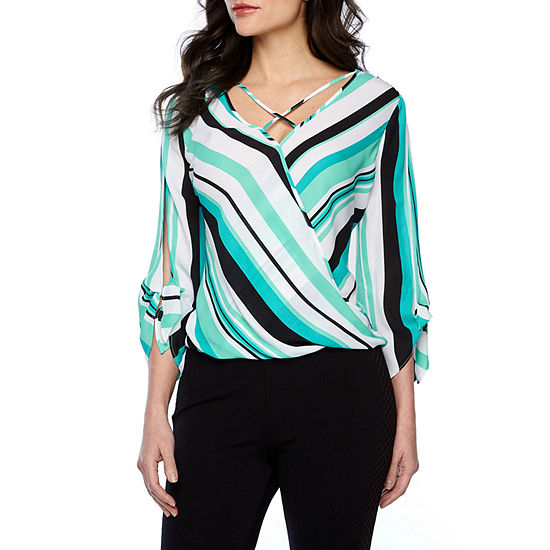 Bold Elements Womens V Neck 3/4 Sleeve Wrap Shirt