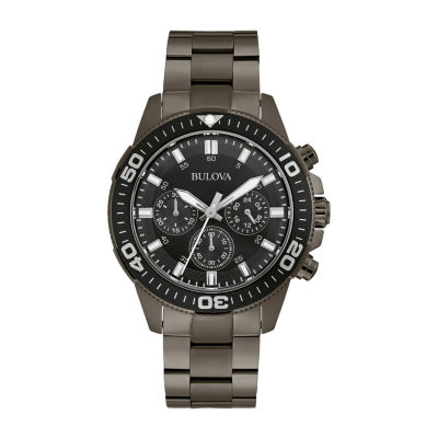 Bulova Mens Chronograph Gray Stainless Steel Bracelet Watch 98a249