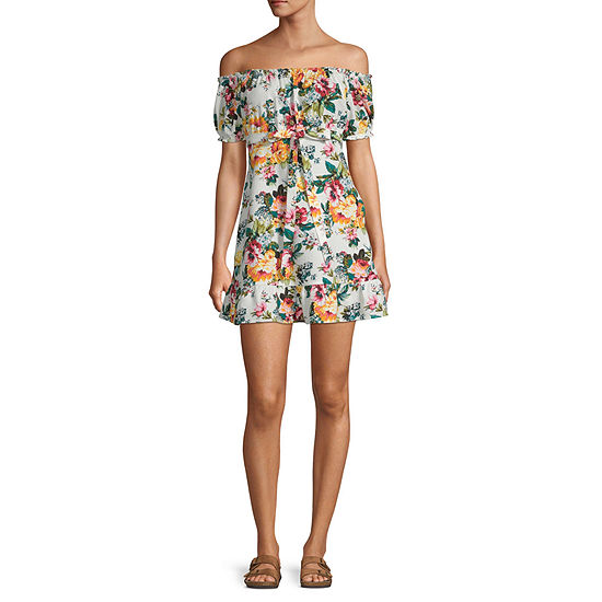Speechless-Juniors Short Sleeve Floral Fit & Flare Dress