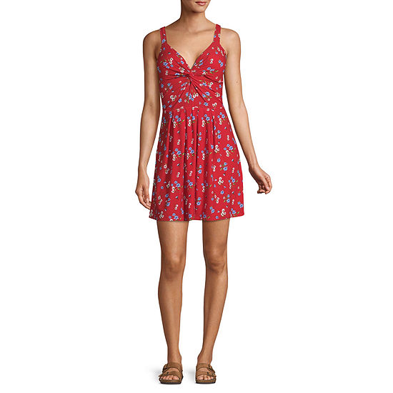 Derek Heart-Juniors Sleeveless Floral Fit & Flare Dress