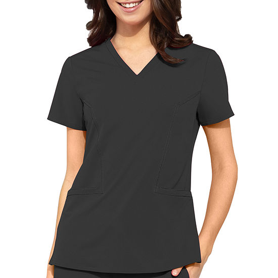 Med Couture Peaches Womens V Neck Scrub Top