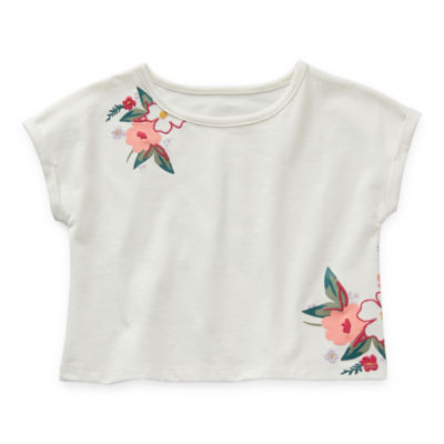 Thereabouts Toddler Girls Embroidered Crew Neck Short Sleeve T-Shirt