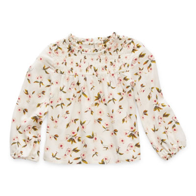 Thereabouts Toddler Girls Round Neck Long Sleeve Blouse