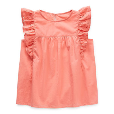 Thereabouts Little & Big Girls Round Neck Short Sleeve Blouse