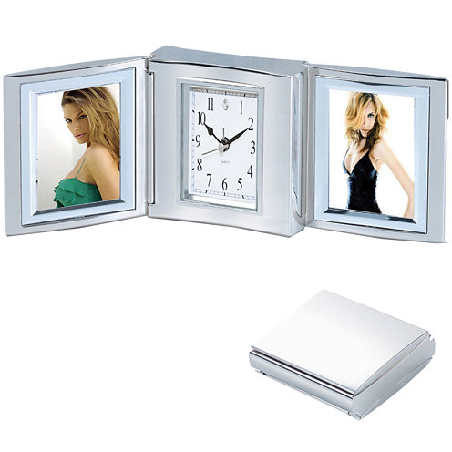 Natico Trifold Alarm Clock and Double Picture Frame