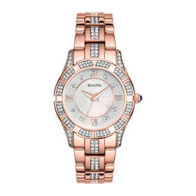 Bulova® Womens Rose-Tone Crystal Accent Watch 98L197