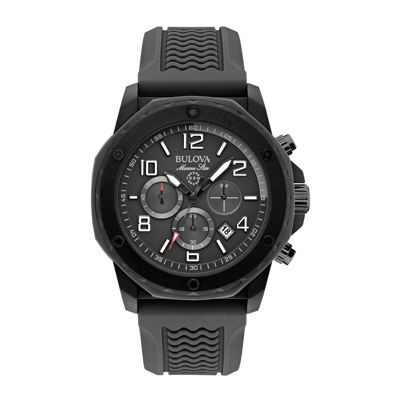 Bulova® Mens Black Silicone Strap Chronograph Sport Watch 98B223