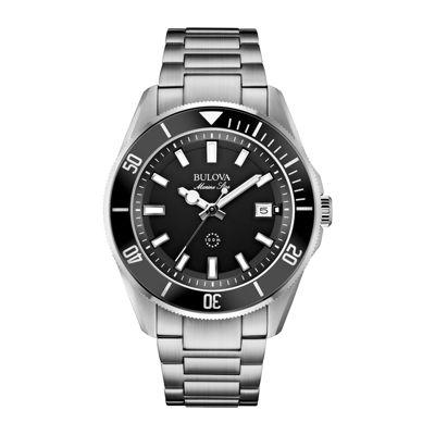 Bulova® Mens Black Dial Stainless Steel Bracelet Watch 98B203