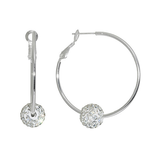Sparkle Allure Pure Silver Over Brass Clear Crystal Ball Earrings