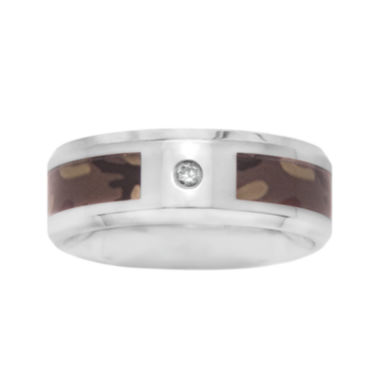 Mens Diamond Accent Genuine White Diamond Stainless Steel Wedding Band