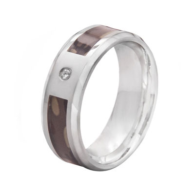 Mens 8mm Stainless Steel Diamond-Accent Camouflage Wedding Band