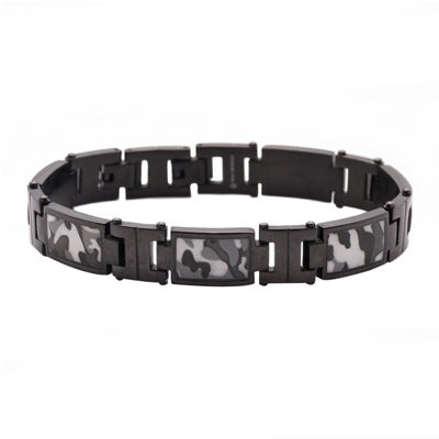 Mens Stainless Steel Camouflage Link Bracelet