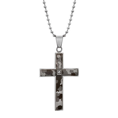 Mens Diamond-Accent Stainless Steel Camouflage Cross Pendant Necklace