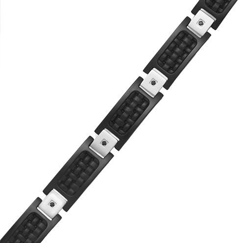 Mens 1/10 CT. T.W. Diamond Stainless Steel Leather Link Bracelet